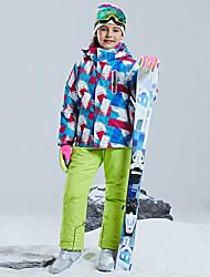 cheap -Boys' Girls' Ski Jacket with Pants Winter Sports Windproof Warm Skiing POLY Chinlon Clothing Suit Ski Wear / Kids / Floral Botanical