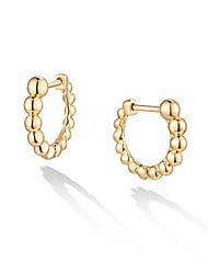 cheap -14k gold plated huggie earrings with shining white cubic zriconia geometry beads cute hoop earrings for women