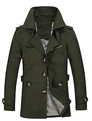 cheap -men's casual slim fit outwear trench coat medium light khaki