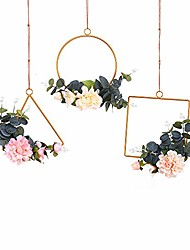 cheap -floral hoop wreath set of 3 round triangle square hoop artificial rose flower and eucalyptus greenery leaves hanging wall hoop garland wedding nursery wall decor wedding backdrop
