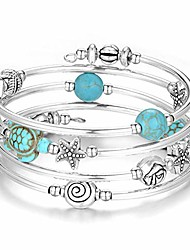 cheap -layered wrap bangle turquoise bracelet - bead bracelet with natural agate stone, gifts for women (18-turquoise blue turtle bracelet)