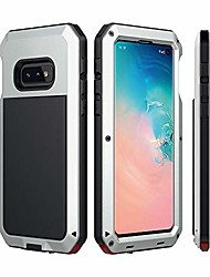 cheap -galaxy s10e case  aluminum metal bumper frame case silicone water resistant shockproof tempered glass screen protector outdoor sports protective case for samsung galaxy s10e (2019) - silver