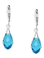cheap -glass crystal earring leverback high polished rhodium (style 2 - aqua)