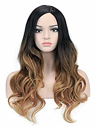 cheap -26'' ombre black blonde brown wigs long wavy curly wig for women girls curly side parting hair wigs no bangs
