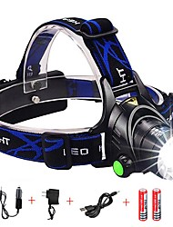 cheap -Headlamps Headlight Waterproof Zoomable 1600 lm LED LED Emitters 3 Mode with Batteries and Charger Waterproof Zoomable Rechargeable Adjustable Focus Impact Resistant Strike Bezel Camping / Hiking
