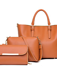 cheap -Women's Bags PU Leather Leather Bag Set 3 Pcs Purse Set Zipper Daily Outdoor Bag Sets 2021 Handbags Black Blue Blushing Pink Green