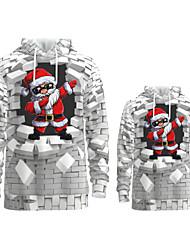 cheap -Family Look Active Santa Claus Graphic optical illusion Print Long Sleeve Regular Hoodie & Sweatshirt White