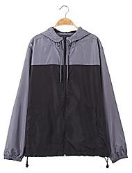 cheap -men's color block comfort soft outdoor hooded windbreaker water resistance jacket (black/charcoal, m)