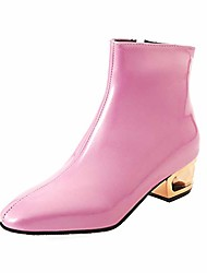 cheap -women's patent leather ankle boots metal low heel square toe zipper fashion winter short booties