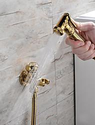 cheap -Bidet Faucet Handheld Bidet Sprayer Antique Golden Luxury Middle East Shattaf Set