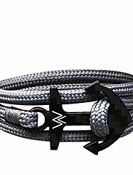 cheap -wayagain - carbon anchor bracelet for men one-size - nylon paracord rope - adjustable jewelry with string wristband - unique gift for any occasion