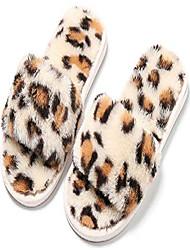 cheap -girls fuzzy slippers soft plush open toe fluffy toddler house slippers leopard slip-on slippers memory foam slide slippers beige