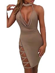 cheap -Women's A-Line Dress Short Mini Dress - Sleeveless Solid Color Lace up Patchwork Summer Hot Sexy 2020 Khaki M L XL XXL 3XL
