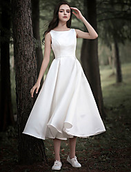 cheap -A-Line Wedding Dresses Jewel Neck Tea Length Chiffon Over Satin Cap Sleeve Simple Casual Little White Dress with 2021