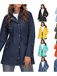 cheap -Women's Hoodie Jacket Waterproof Hiking Jacket Rain Jacket Summer Outdoor Thermal Warm Waterproof Windproof Quick Dry Outerwear Windbreaker Top Cotton Camping / Hiking Hunting Casual Navy Water Blue