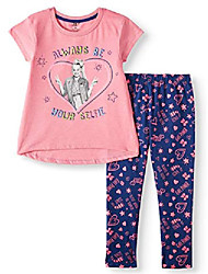 cheap -jojo siwa always be yourself girls fashion top and legging, 2-piece outfit set 6x pink