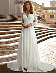 cheap -A-Line Wedding Dresses V Neck Chapel Train Chiffon Satin Long Sleeve Romantic Illusion Sleeve with Buttons Appliques 2021