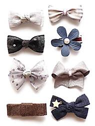 cheap -baby girls hair bows, hair clips, ribbon lined alligator hair clips (f)