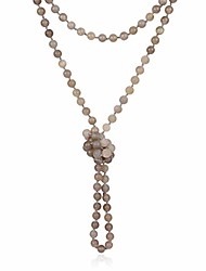 """cheap -long statement necklace - handmade knotted endless beads strand versatile lariat multi layer infinity wrap 60"""" sparkly crystal rondelle/semi precious natural stone (natural stone bead - gray agate)"""