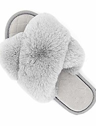 cheap -gray fuzzy kids slippers for girls crisscross little girls slippers furry fluffy soft comfy cute bedroom slippers indoor/outdoor for little kids size 9.5-10.5