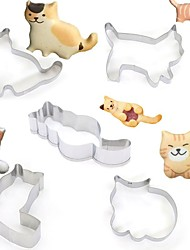 cheap -5pcs Cute Animal Cat Shape Cookie Cutters Moulds Stainless Steel Biscuit Mold DIY Fondant Pastry Decorating Baking Kitchen Tools