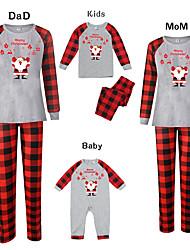 cheap -Family Look Basic Graphic Print Long Sleeve Regular Clothing Set Gray