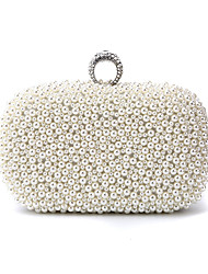 cheap -Women's Bags Polyester Alloy Evening Bag Crystals Pearl Party Wedding Wedding Bags Handbags Chain Bag White Black Beige