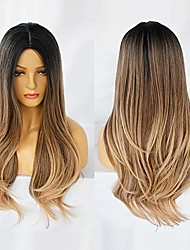 cheap -dark brown ombre wig for women long wave soft synthetic heat resistant fiber wigs for daily wear for cosplay (ombre brown)