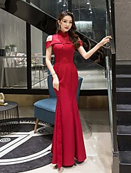 cheap -Mermaid / Trumpet Chinese Style Elegant Wedding Guest Formal Evening Dress High Neck Short Sleeve Floor Length Lace with Buttons Split 2021
