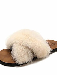 cheap -fuzzy cross band flip flop soft rubber flat slipper plush fleece indoor outdoor slippers (off white,eu 40=us 9.5)