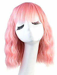 cheap -halloweencostumes women's pastel wavy wig with air bangs short bob wig curly wavy shoulder length pastel bob synthetic cosplay wig for girl women costume wigs pink