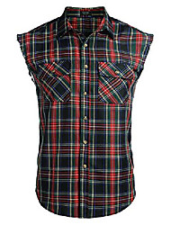 cheap -men's sleeveless plaid shirts casual button down cotton vest with pockets