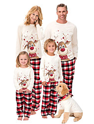 cheap -Family Look Family Matching Outfits Clothing Set Animal Long Sleeve Print White Christmas