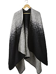 cheap -women's comfy ombre ruana, -black/white, one size fits most