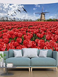 cheap -Wall Tapestry Art Decor Blanket Curtain Picnic Tablecloth Hanging Home Bedroom Living Room Dorm Decoration Polyester Modern Landscape Red Flower Windmill