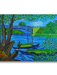 cheap -Stretched Oil Painting Hand Painted - Abstract Impressionist Canvas High Quality Van Gogh repro Fishing in Spring