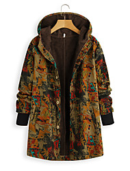 cheap -Women's Print Active Fall & Winter Trench Coat Long Daily Long Sleeve Cotton Blend Coat Tops Navy Blue