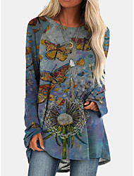 cheap -Women's Shift Dress Knee Length Dress Long Sleeve Print Animal Print Fall Casual 2021 Blue S M L XL XXL 3XL