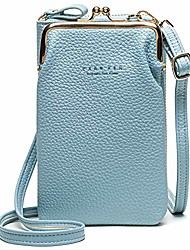 cheap -women cross-body pu leather wallet large capacity with card slots adjustable detachable shoulder strap for cell phones under 7 inches bag, (blue), m