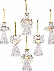 cheap -mini sized clear glass angel ornaments for christmas tree decorations, 60mm/2.36-inch, set of 12 (gold)