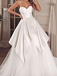 cheap -Ball Gown Wedding Dresses Sweetheart Neckline Court Train Satin Tulle Sleeveless Formal with 2021