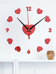 cheap -Home Watch Love Peach DIY Mirror Wall Sticker Wall Clock Silent Movement Wall Clock With Back Glue 40cm*40cm