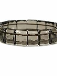 "cheap -plastic smoky quartz genuine semi precious gemstone 15mm square grain faceted beaded stretchable bracelet 7.5"""