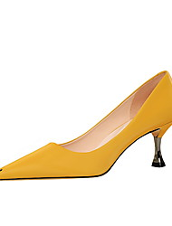 cheap -Women's Heels Stiletto Heel Pointed Toe Classic Daily PU Solid Colored Black Yellow Beige / 2-3