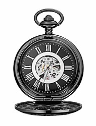 cheap -men gift vintage pocket watch black pocket watch clamshell mechanical roman carved hollow classic machinery