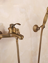 cheap -Mount Outside Shower Faucet Set,AntiqueBrass/Brass/YellowDual-Head Pullout Vintage Style,BrassShowerFaucetwithRain Shower/Handshower/Bodysprays/Drain with Hot and Cold Water