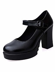 cheap -women mary jane pump classic high block heel lolita platform shoes ankle buckle work shoes by lowprofile black