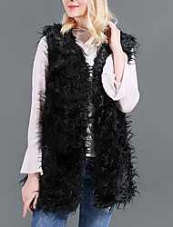 cheap -Women's Faux Fur Coat Long Solid Colored Holiday Basic Black One-Size