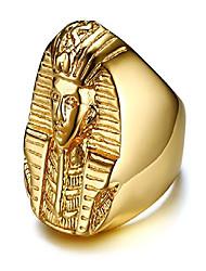 cheap -men's 18k gold plated stainless steel egyptian akhnaton pharaoh king tut mummy ring,size 9-13 (10)