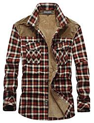 cheap -mens casual plaid retro long sleeves button up lamb cashmere fleece lined plaid flannel shirt